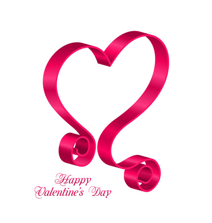 looping: Illustration Pink Tape Ribbon in Form Heart for Happy Valentines Day. Isolated on White Background. Looping Ribbon - raster