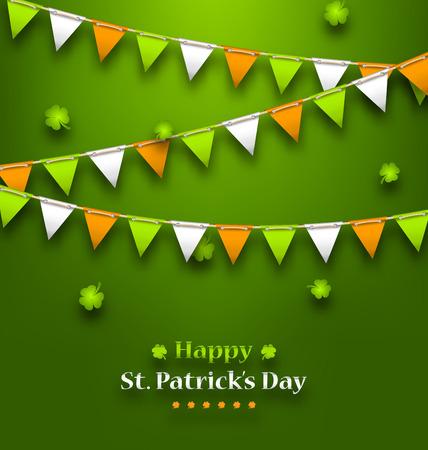 Illustratie Bunting Wimpels in de Ierse Kleuren en Klavers voor St. Patrick's Day - raster