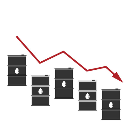 brent crude: Illustration Concept of Oil Prices Down, Black Barrels and Graph Growth - Vector