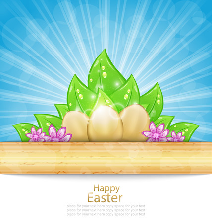 pascua: Illustration Easter Background with Eggs, Leaves, Flowers - Vector
