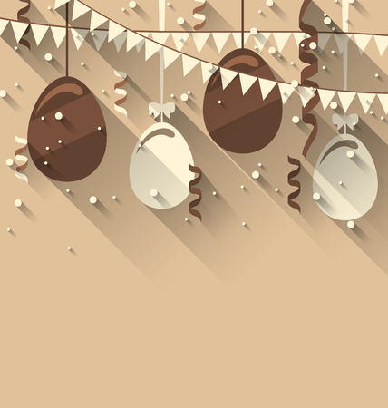 Illustration Happy Easter Background with Chocolate Eggs and Serpentine, Trendy Flat Style with Long Shadows - Vector