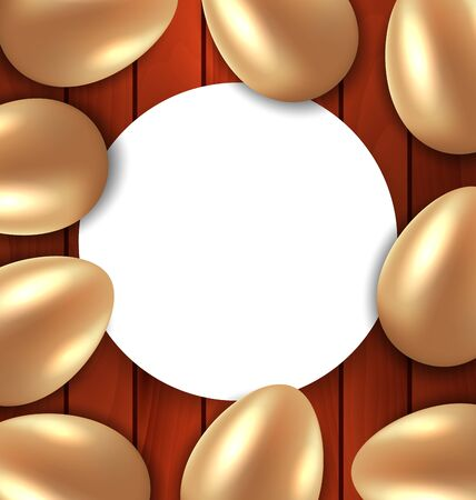 eastertide: Illustration Congratulation Card with Easter Golden Glossy Eggs on Wooden Background - Vector Illustration