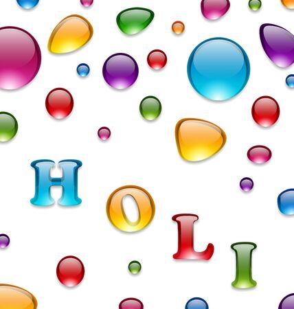 dhulandi: Illustration Multicolored Drops for Indian Festival Holi, Celebration Background - Vector Illustration