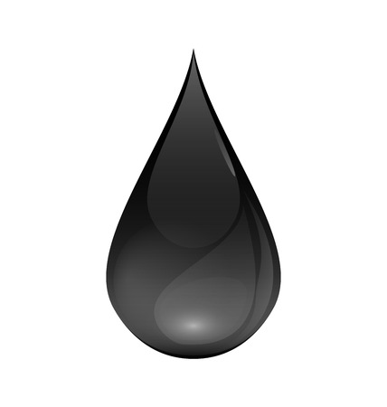 brent: Brent Oil Drop black icon isolated on white - vector