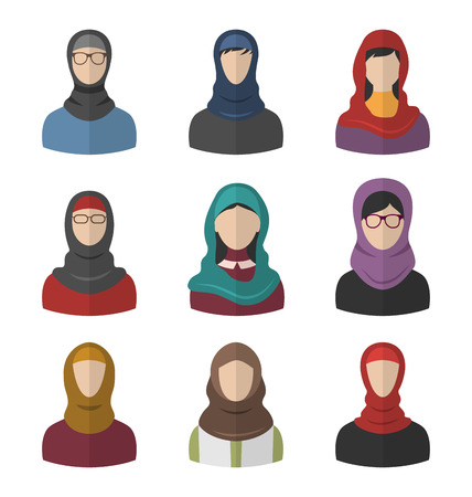 woman scarf: Illustration Set Arabic Women, Heads and Headscarf, Portraits, Traditional Clothing in Arab Countries, Flat Icons - Vector