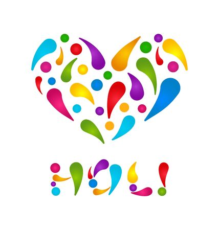 Illustration Colorful Paint Drops in Form Heart with Lettering Text for Indian Festival Holi - Vector Vector Illustration