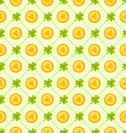 three leafed: Illustration Seamless Pattern with Clovers and Golden Coins for St. Patricks Day, Cute Background - Vector Illustration