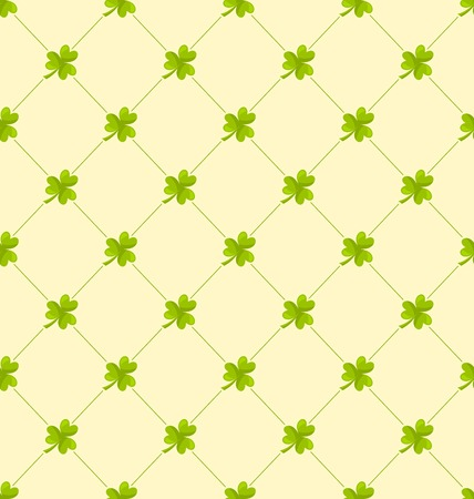 leafed: Illustration Seamless Ornamental Pattern with Clovers for St. Patricks Day, Irish Nature Background - Vector Illustration