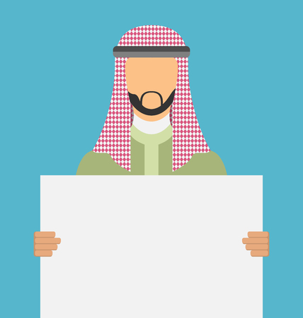 man holding a blank sign: Arab saudi promoter man holding a blank horizontal sign isolated on a white background