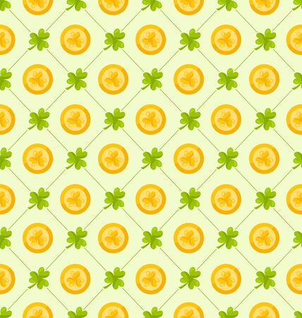 patrick backdrop: Illustration Seamless Pattern with Clovers and Golden Coins for St. Patricks Day, Cute Background - raster