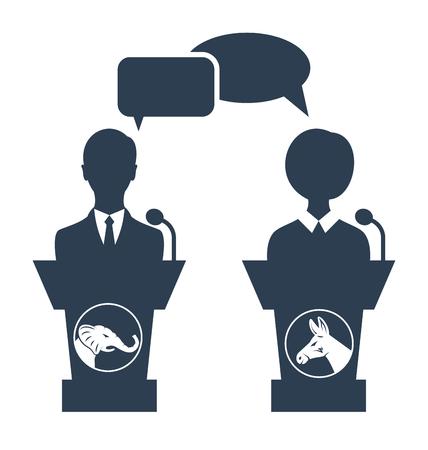 democrat: Illustration Debate of Republican vs Democrat. People Icons Isolated on White Background - Vector