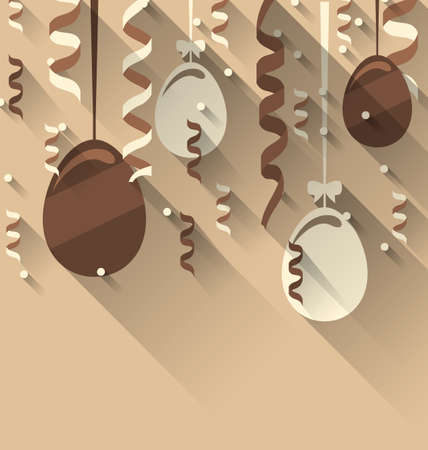 ostern: Illustration Easter Background with Chocolate Eggs and Serpentine, Trendy Flat Style with Long Shadows - Vector