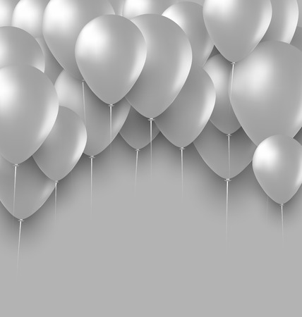 holiday background: Illustration Holiday Background with White Balloons - Vector