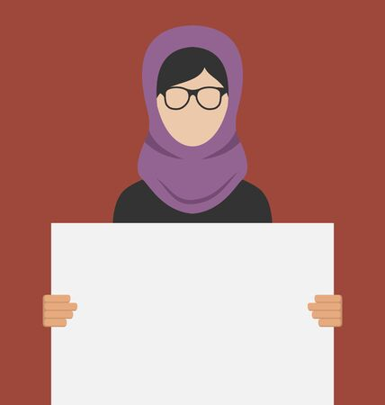 promoter: Illustration Arabic Woman Holding a Blank Horizontal Banner, Copy Space for Your Text on Poster - raster