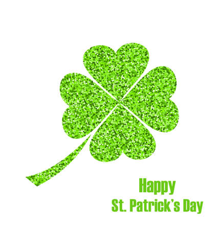 17th: Illustration Shiny Twinkle Clover for St. Patricks Day, Isolated on White Background - raster Stock Photo
