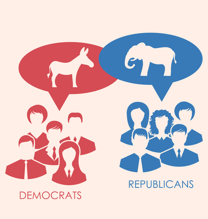 democrats: Illustration Concept of Debate Republicans and Democrats. Donkey and Elephant as a Symbols Vote of USA. Retro Style Design - Vector