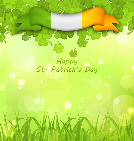 17th: Illustration Glowing Nature Background with Clovers, Grass and Irish Flag for St. Patricks Day - raster