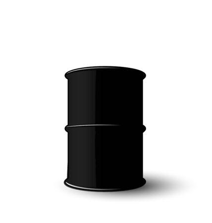 metal barrel: Illustration Black Metal Barrel of Oil Isolated on White Background - raster