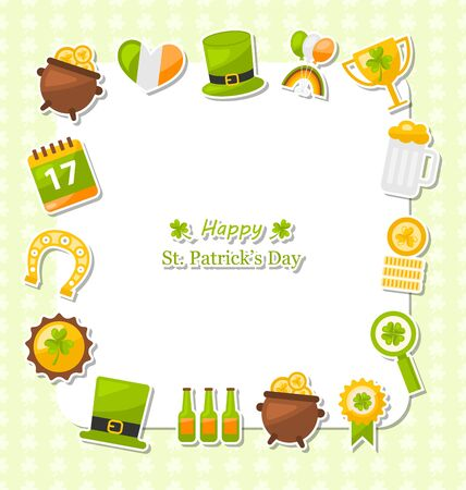 17th: Illustration Celebration Card with Traditional Symbols for St. Patricks Day - raster Stock Photo