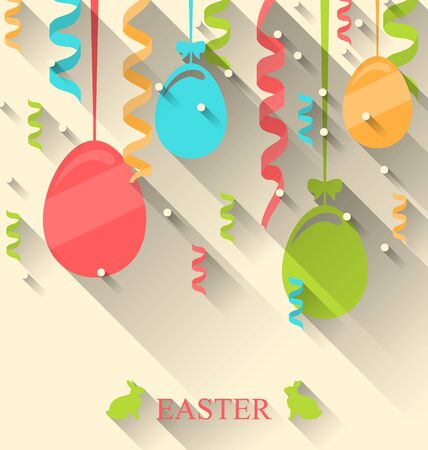 pascua: Illustration Easter Background with Colorful Eggs and Serpentine, Trendy Flat Style with Long Shadows - raster