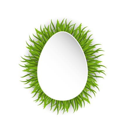 Illustration Happy Easter Paper Card in Form Egg with Green Grass - raster Stock Photo