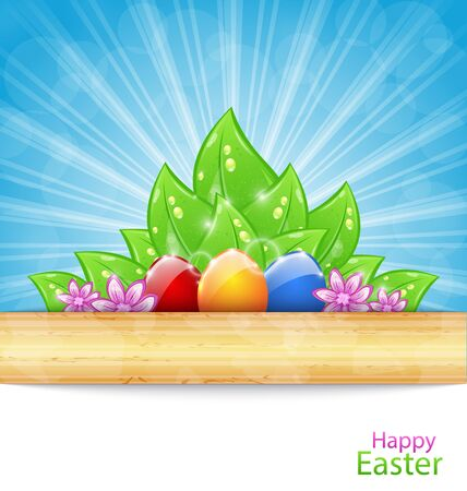 ostern: Illustration Easter Background with Eggs, Leaves, Flowers - raster