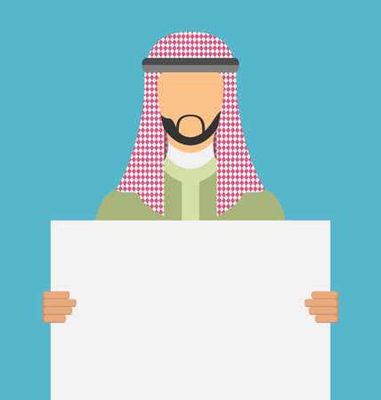 promoter: Arab saudi promoter man holding a blank horizontal sign isolated on a white background