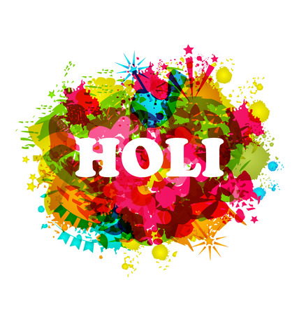 celebration party: illustration of DJ party banner for Holi celebration Stock Photo