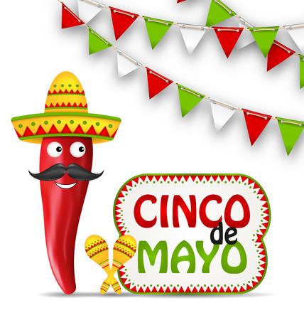 Illustratie Cinco De Mayo vakantie achtergrond met stripfiguur van Chili peper, Sombrero hoed, Maracas, Bunting decoratie met traditionele Mexicaanse kleur - Vector