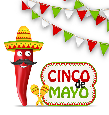 Illustration Cinco De Mayo Holiday Background with Cartoon Character of Chili Pepper, Sombrero Hat, Maracas, Bunting Decoration with Traditional Mexican Color - Vector Illustration
