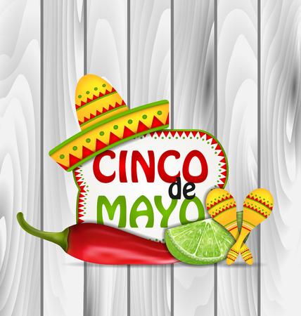 Illustratie Achtergrond Groet van de vakantie voor Cinco de Mayo met Chili Pepper, Sombrero Hoed, Maracas, Piece of Lime - Vector