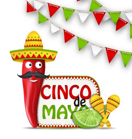 Illustratie Viering vakantie achtergrond voor Cinco De Mayo met stripfiguur van Chili peper, Sombrero hoed, Maracas, stuk limoen, Bunting decoratie met traditionele Mexicaanse kleuren - Vector