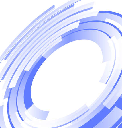 blue circles: Abstract blue background frame blended elements striped transparency cut from circles - vector