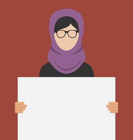 introducing: Illustration Arabic Woman Holding a Blank Horizontal Banner, Copy Space for Your Text on Poster - Vector