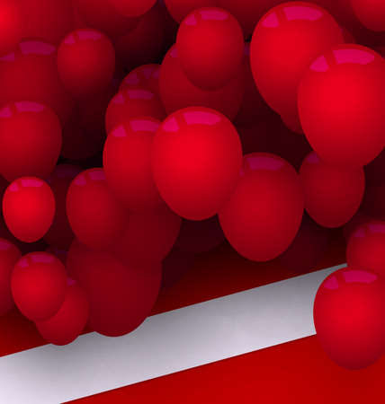 red balloons: Illustration Bright Card with Red Balloons for Your Holiday - Vector Illustration