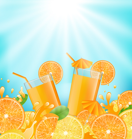 glassful: Illustration Abstract Background for Cocktail Party with Sliced of Oranges, Lemons and Fresh Beverages - Vector