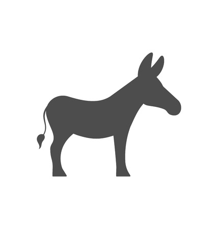 Illustration Donkey Silhouette Isolated on White Background - Vector Vettoriali