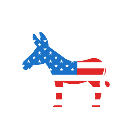 democrats: Illustration Donkey as a Symbol of American Democrats, Isolated on White Background. American Vote 2016 - Vector Illustration