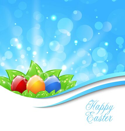 pascua: Illustration Spring Background with Easter Colorful Eggs - Vector