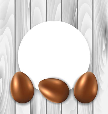 pascua: Illustration Celebration Card with Easter Chocolate Eggs on Wooden Grey Background - Vector