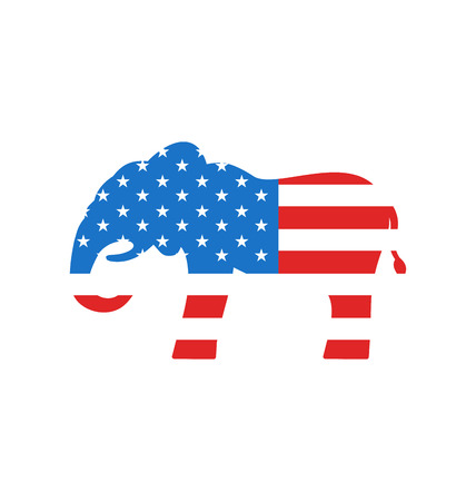 party down: Illustration Elephant as a Symbol of American Republicans, Isolated on White Background - Vector