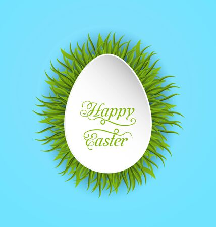 pascua: Illustration Happy Easter Paper Card in Form Egg with Green Grass - Vector