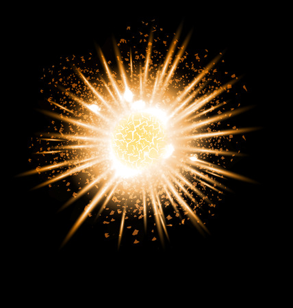 Gold grand explosion of planet. Big Bang. Catastrophe. Formation of the universe. Vector