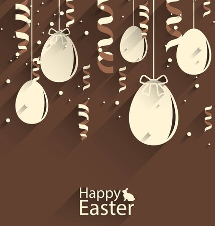 brown hare: Illustration Happy Easter Chocolate Background with Eggs and Serpentine, Trendy Flat Style with Long Shadows - Vector