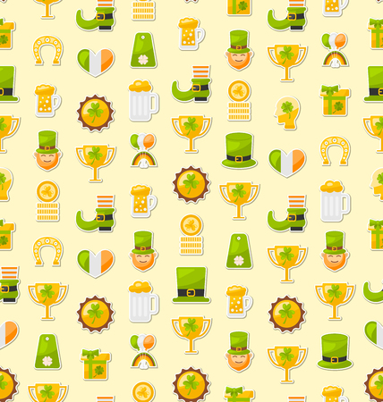 17th march: Illustration Seamless Template with Cartoon Colorful Flat Icons for Saint Patricks Day, Traditional Irish Background - Vector