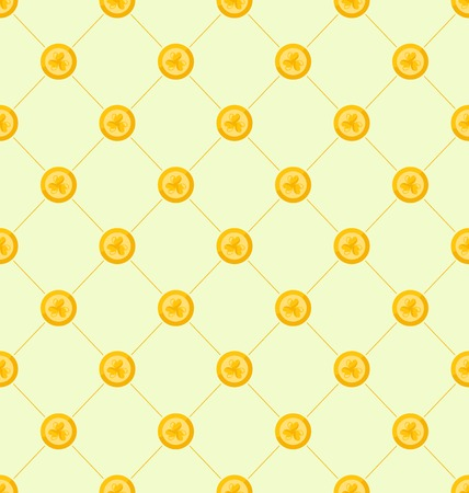 17th: Illustration Seamless Simple Pattern with Golden Coins for St. Patricks Day, Ireland Background with Treasure - Vector