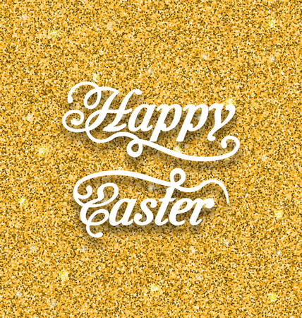 tinsel: Illustration Abstract Easter Card with Hand Written Phrase. Greeting Card Templates with Easter Text. Happy Easter Lettering - Vector