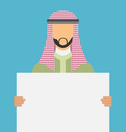 arab adult: Illustration Arabic Man Holding a Blank Horizontal Banner, Copy Space for Your Text on Poster - Vector