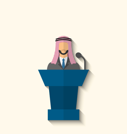 senator: Illustration Arabic Businessman Orator in Keffiyeh Speaking From Rostrum, Politician on Conference, Flat Icon with Long Shadow Style - Vector