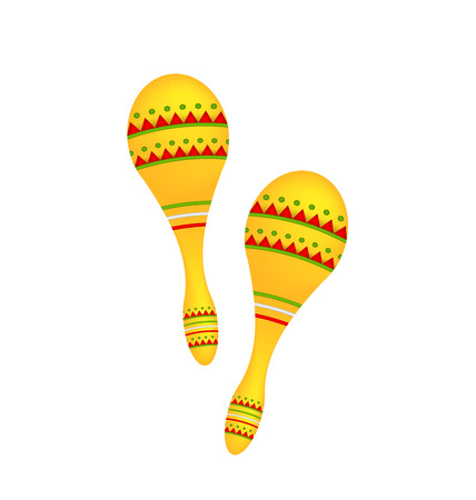 shekere: Illustration Pair Colorful Maracas Isolated on White Background, Musical Instrument of Maraca, Cuba, Mexico, Carnival - Vector